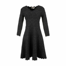 Nevers Short Flared Dress with Floral Embroidery