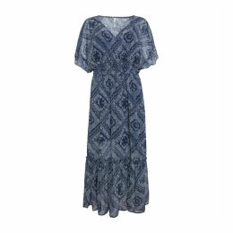 Paisley Print Maxi Dress with Short Sleeves