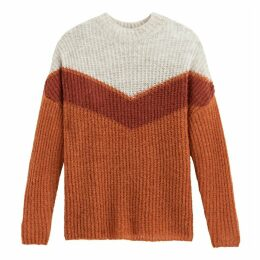 Colour Block Ribbed Jumper with Crew Neck