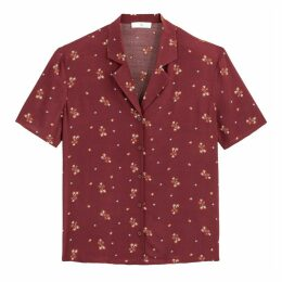 Printed Boxy Bowling Shirt with Short Sleeves