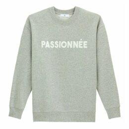 Cotton Mix Sweatshirt with French Slogan
