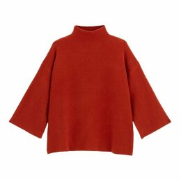 High-Neck Fine Knit Jumper with Wide Sleeves