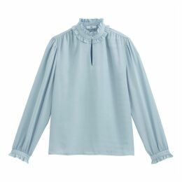 Ruffled High-Neck Blouse with Long Sleeves