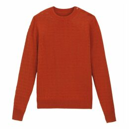Fine Knit Crew-Neck Jumper with Buttons