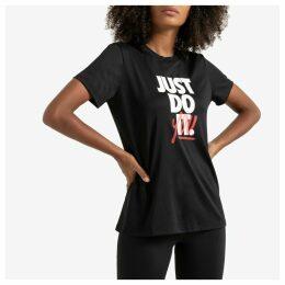 Rebel Crew Print T-Shirt in Cotton Mix