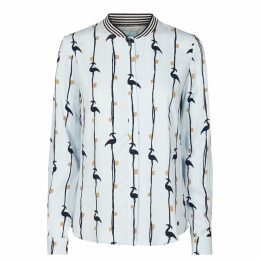 Printed Shirt with Striped Collar