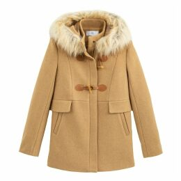 Hooded Duffle Coat with Faux Fur Trim
