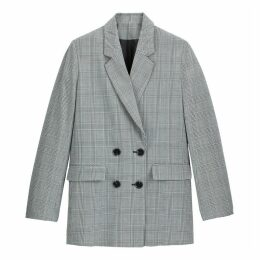 Long Straight Double-Breasted Blazer in Prince of Wales Check