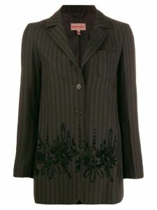 Romeo Gigli Pre-Owned 1990's floral appliqué striped blazer - Brown