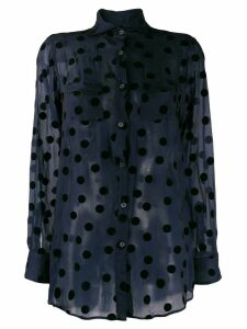 Romeo Gigli Pre-Owned 1990's polka dots sheer shirt - Blue