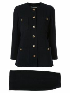 Chanel Pre-Owned logo buttons skirt suit - Black