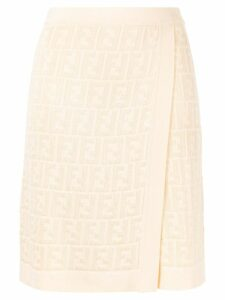 Fendi Pre-Owned Zucca pattern knitted skirt - Neutrals