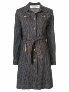 Christian Dior Pre-Owned Trotter pattern denim coat - Blue