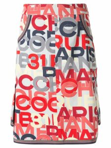 Chanel Pre-Owned logo printed knee-length skirt - Black