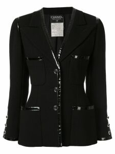 Chanel Pre-Owned patent trim blazer - Black