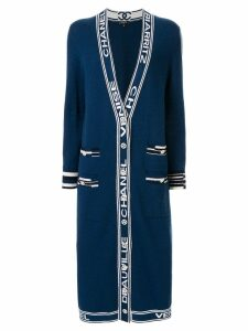Chanel Pre-Owned cashmere logo straps long coat - Blue