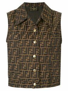 Fendi Pre-Owned Zucca pattern buttoned waistcoat - Brown