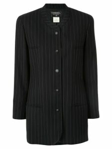 Chanel Pre-Owned pinstriped collarless jacket - Black