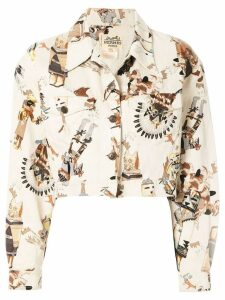 Hermès Pre-Owned First Nation print cropped jacket - White