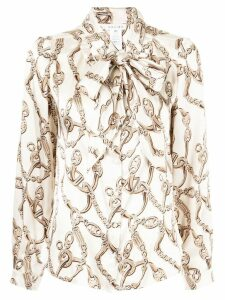 Céline Pre-Owned chain print pussy bow shirt - Neutrals