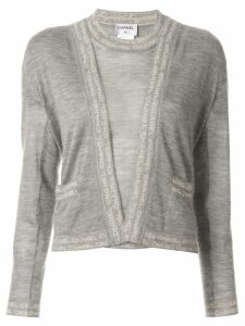 Chanel Pre-Owned logo T-shirt and cardigan - Grey