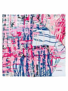 Chanel Pre-Owned brushstroke print scarf - Pink