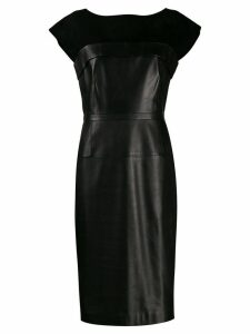 Gucci Pre-Owned leather and silk fitted dress - Black