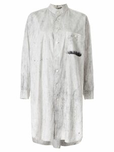 Issey Miyake Pre-Owned marble effect shirt dress - White