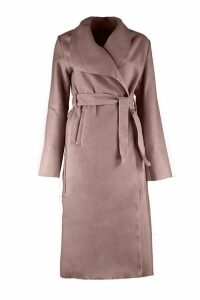 Womens Belted Shawl Collar Coat - beige - One Size, Beige