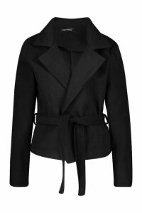 Womens Crop Belted Wrap Wool Look Coat - black - 8, Black