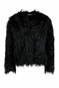 Womens Shaggy Faux Fur Coat - black - 14, Black