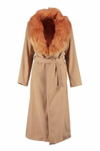 Womens Detachable Faux Fur Collar Wool Look Coat - beige - M, Beige