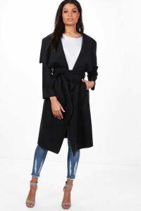 Womens Belted Waterfall Coat - black - S/M, Black