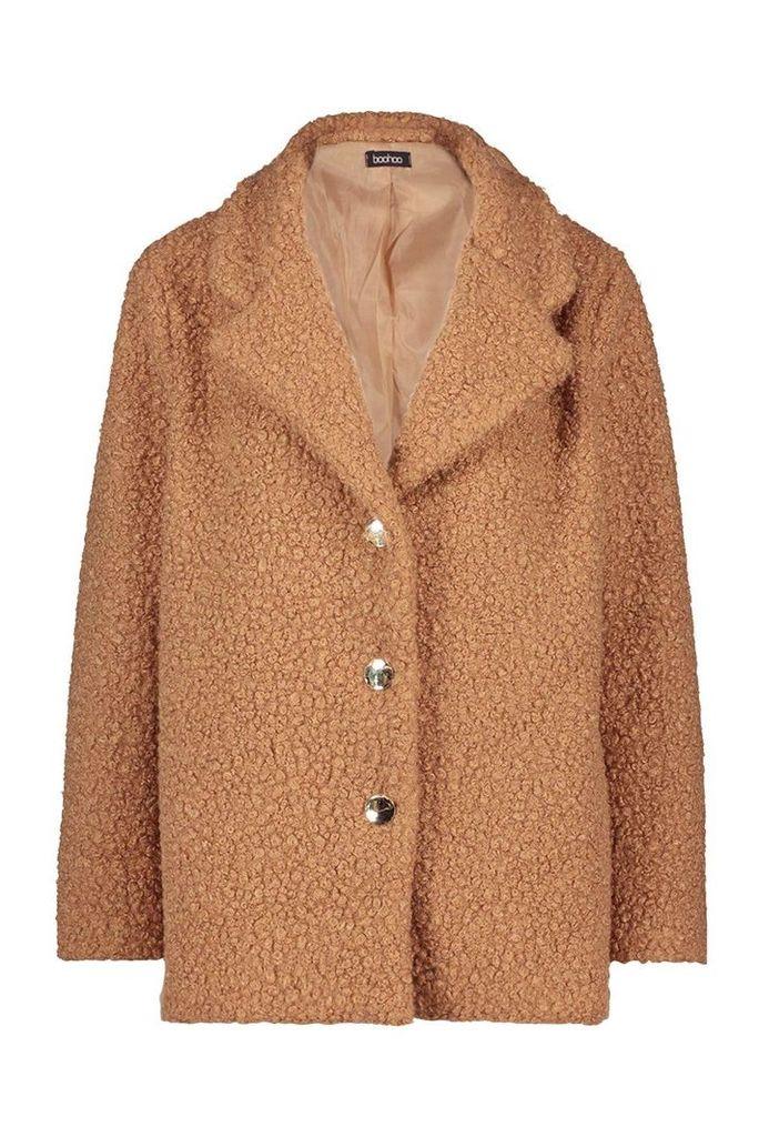 Womens Petite Gold Button Detail Teddy Coat - beige - 14, Beige