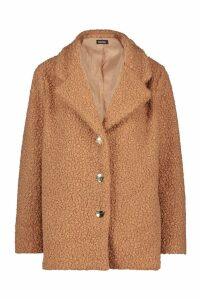 Womens Petite Gold Button Detail Teddy Coat - beige - 14, Beige