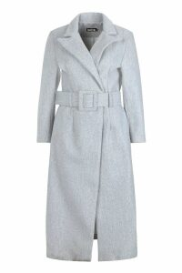 Womens Covered Belt Wool Look Coat - grey - 12, Grey