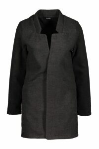 Womens Notch Neck Wool Look Coat - grey - 10, Grey