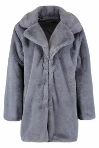 Womens Revere Collar Faux Fur Coat - grey - 12, Grey