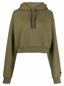 Reebok x Victoria Beckham cropped embroidered logo hoodie - Green
