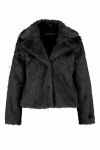 Womens Plus Faux Fur Coat - black - 24, Black