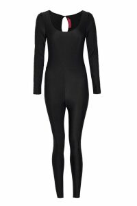 Womens Halloween Long Sleeve Disco Catsuit - black - 16, Black