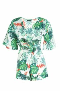 Womens Palm Print Tie Front Playsuit - green - 10, Green
