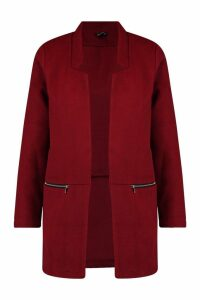 Womens Zip Pocket Wool Look Coat - red - L, Red