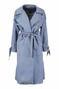 Womens Suedette Belted Trench - grey - S, Grey