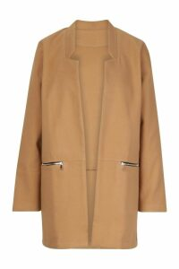 Womens Zip Pocket Wool Look Coat - beige - L, Beige