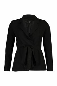 Womens Petite Wrap Around Belted Blazer - black - 14, Black