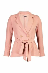 Womens Petite Wrap Around Belted Blazer - pink - 14, Pink