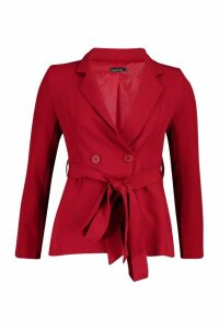 Womens Petite Wrap Around Belted Blazer - mahogany - 14, Mahogany