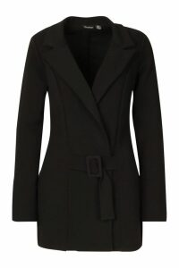 Womens Tall Self Fabric Belted Blazer - black - 16, Black