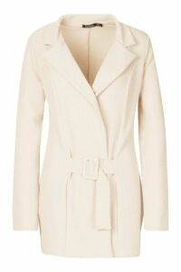 Womens Tall Self Fabric Belted Blazer - beige - 14, Beige
